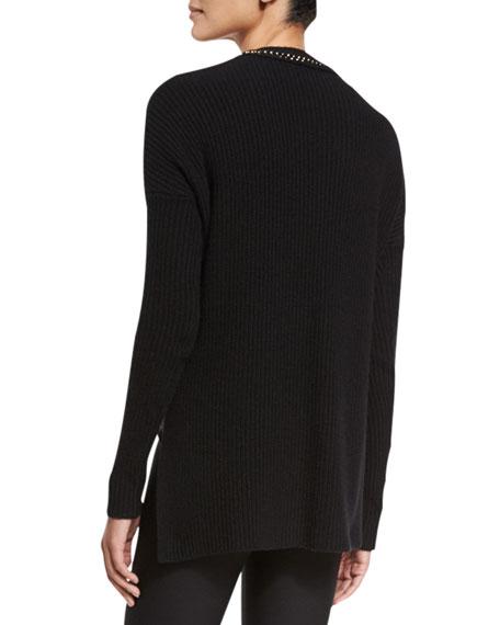 Ribbed V-Neck Pullover Sweater, Black/Gold