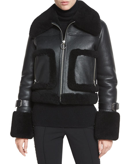 A.L.C. Archer Lamb Leather/Fur Jacket, Black