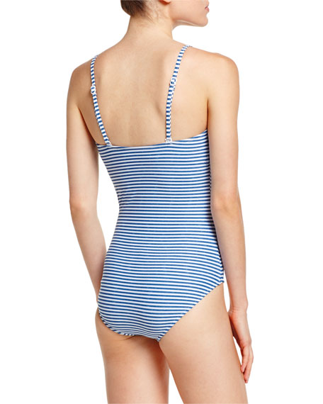 Riviera Striped One-Piece Swimsuit, French Blue Marble