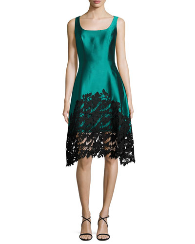 Sleeveless Structured Satin Lace-Trim Dress, Teal