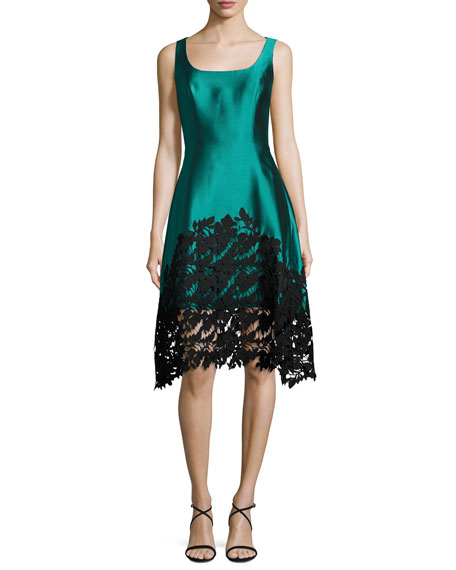 Kay Unger New York Sleeveless Structured Satin Lace-Trim