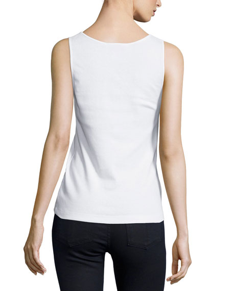 Basic Ribbed Tank, White, Petite