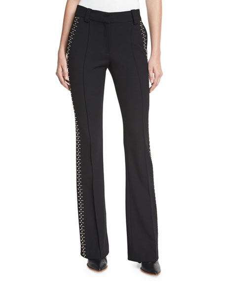 A.L.C. Luke Studded Boot-Cut Pants, Black