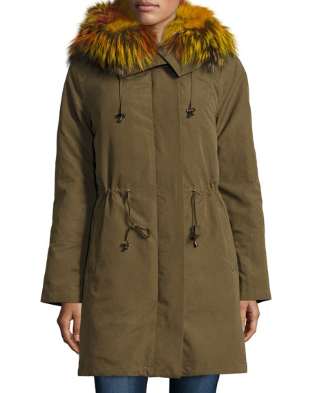 Hooded Zip-Front Jacket w/ Multicolored Fur Trim, Green Multi