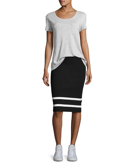 Striped Knit Pencil Skirt, Black