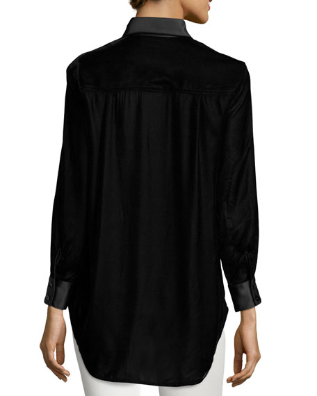 Monica Long-Sleeve Velvet Blouse w/ Satin Trim, Black