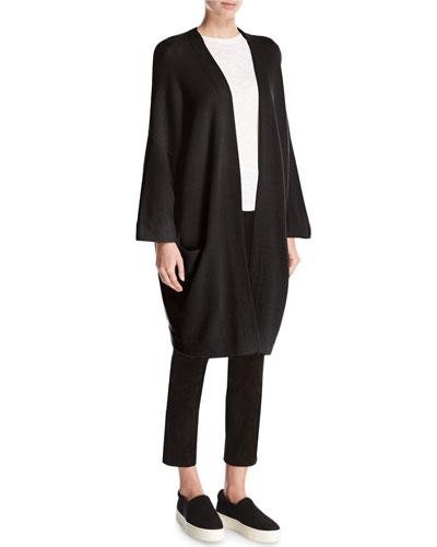 Cashmere Blanket Coat Cardigan, Black