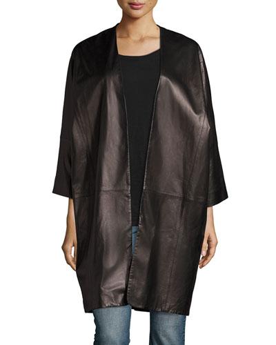 Oversized Dolman-Sleeve Lambskin Shell Jacket, Black