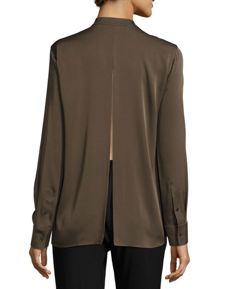 Slit-Back Stretch-Silk Blouse