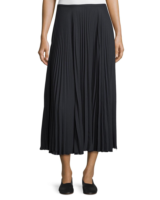 541f31037 Vince Pleated A-Line Midi Skirt, Coastal Blue | Neiman Marcus