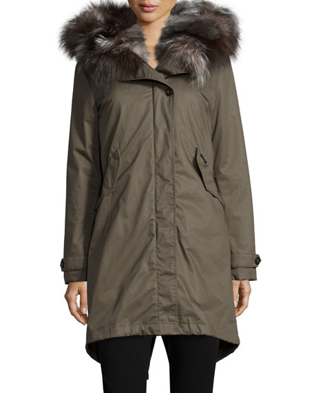 Literary Fur-Trim Cotton Parka Coat