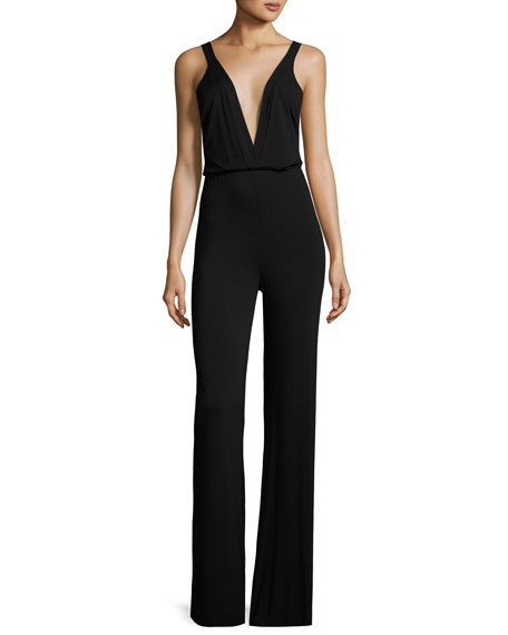 Milla Plunging Surplice Jumpsuit, Black