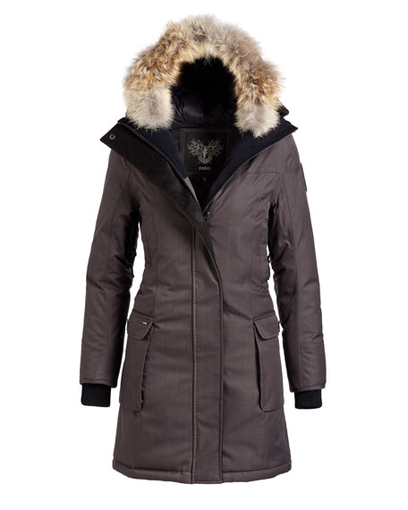Abby Knee-Length Coat with Fur Hood