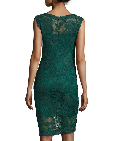 Short-Sleeve Lace Cocktail Dress, Seagrass