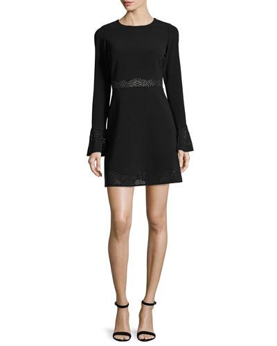 Sonoma Eyelet-Trim Mini Dress, Black