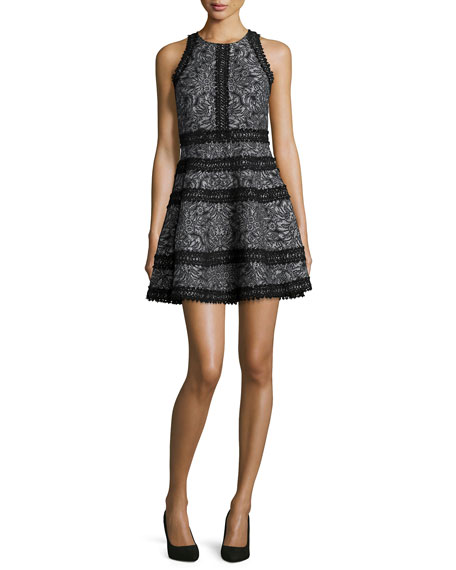 Parker Garnet Floral Lace-Trim Cocktail Dress, Black