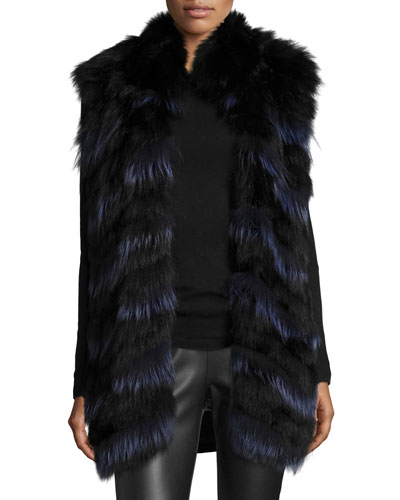 Two-Tone Fox Fur Vest, Black/Indigo