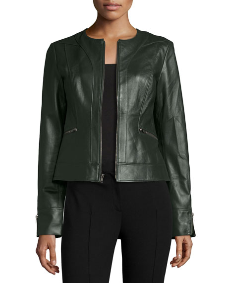 Neiman Marcus Collarless Zip-Front Lambskin Leather Jacket,