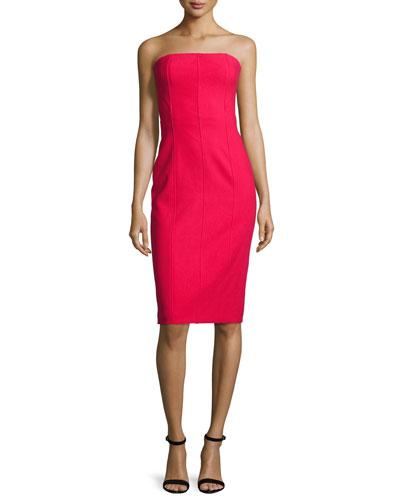 Margo Strapless Paneled Sheath Dress, Cardinal
