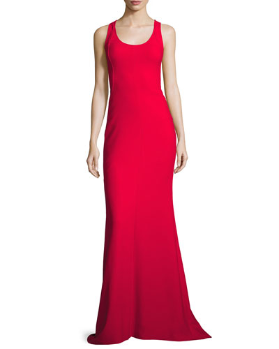 Ava Sleeveless Ponte Gown, Cardinal