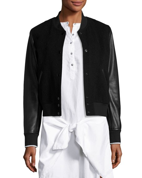rag & bone/JEAN Camden Wool-Blend & Leather Varsity Jacket