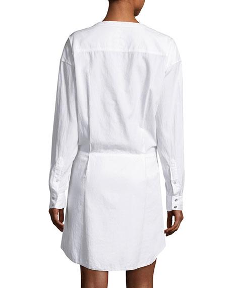 Tie-Waist Poplin Shirtdress, Bright White