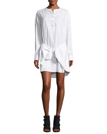 rag & bone/JEAN Tie-Waist Poplin Shirtdress, Bright White