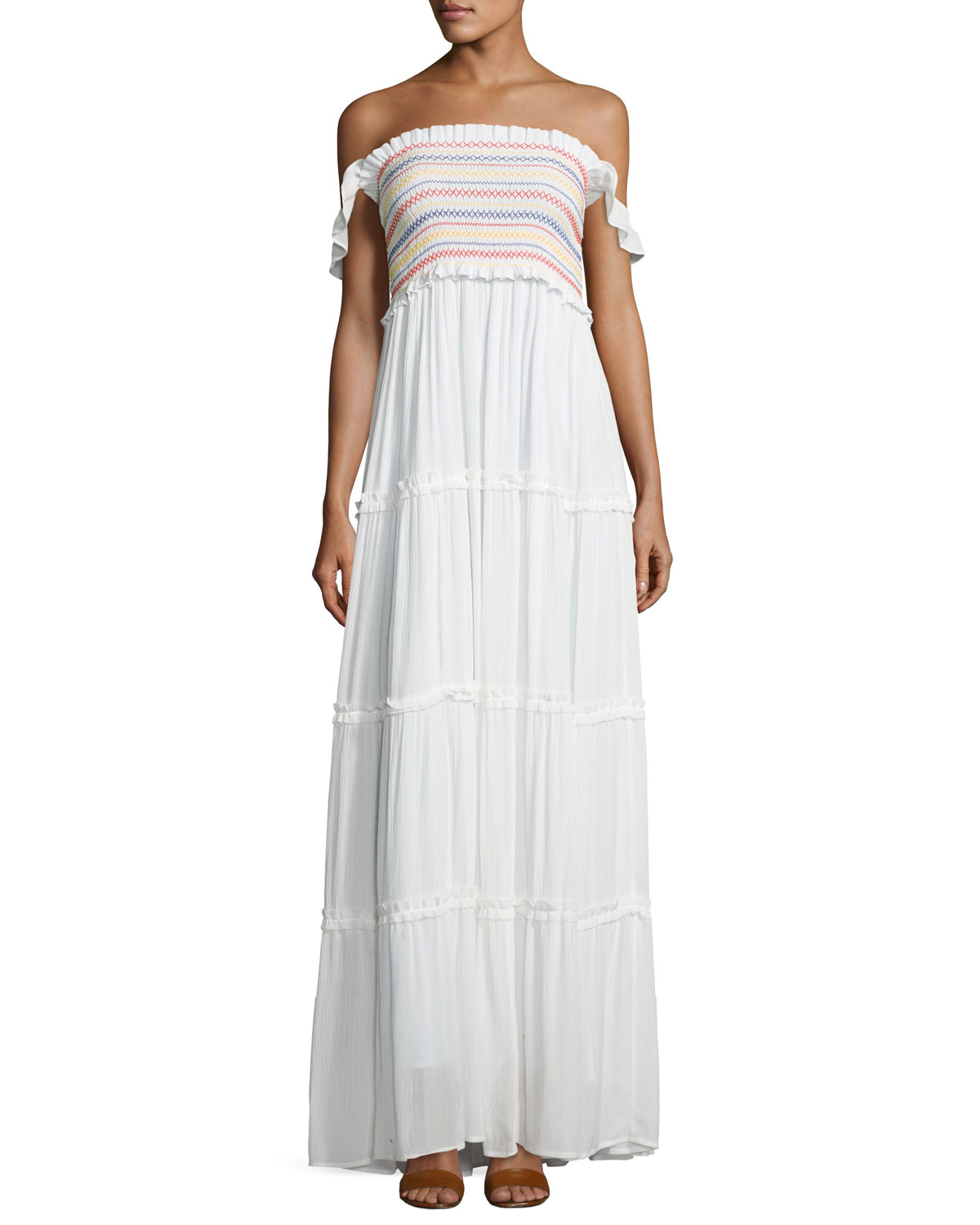 9e68f528aa Tory Burch Smocked Off-the-Shoulder Beach Maxi Dress