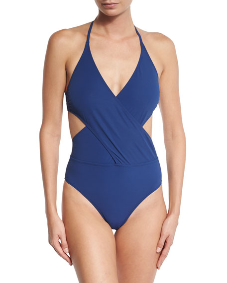 Solid Wrap-Front One-Piece Swimsuit