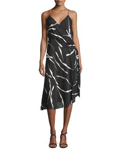 Brenndah Printed Surplice-Front Dress, Gesture Black