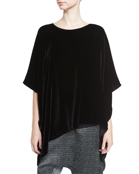 Eileen Fisher Asymmetric Velvet 3/4-Sleeve Poncho, Black, Plus