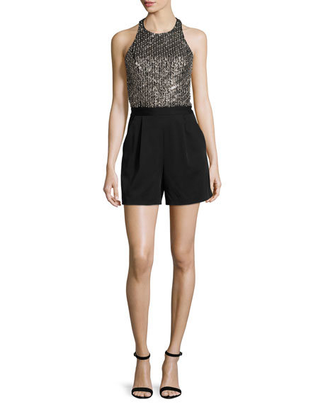 Nisha Embellished Halter-Neck Romper, Black/Antique Silver