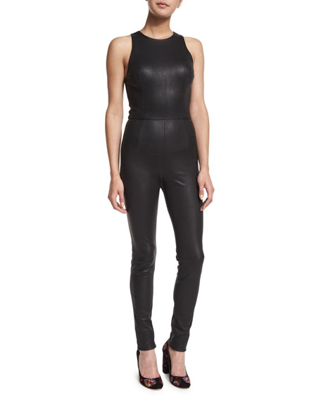 Alice + Olivia Millicent Mesh-Combo Leather Catsuit, Black