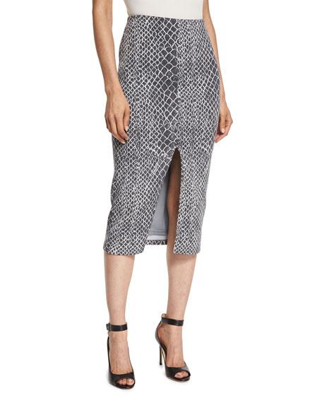 Alice + Olivia Spiga Snakeskin-Print Mid-Length Pencil Skirt,