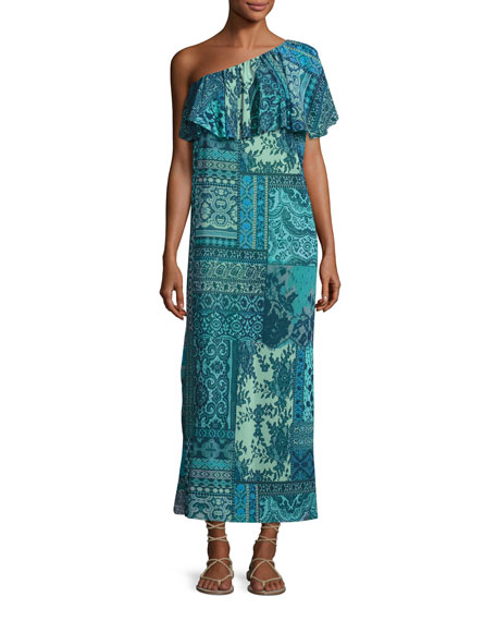 Fuzzi Lace-Print Mosaic One-Shoulder Maxi Dress