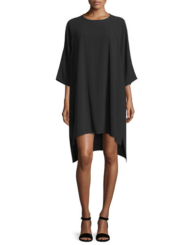 Madera 3/4-Sleeve High-Low Tent Dress, Black