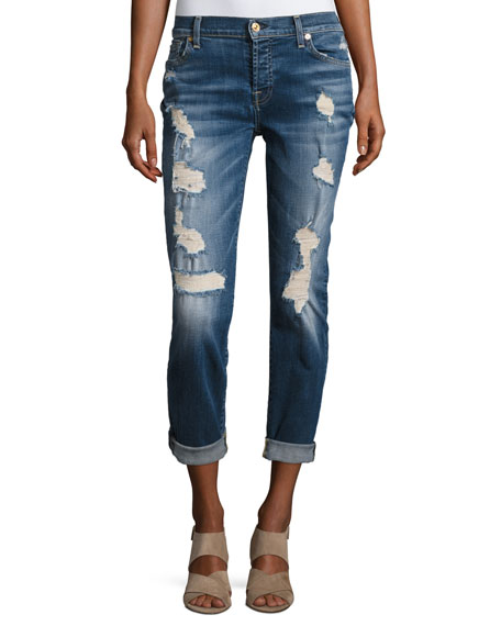 7 For All Mankind Josefina Relaxed-Fit Distressed Jeans,