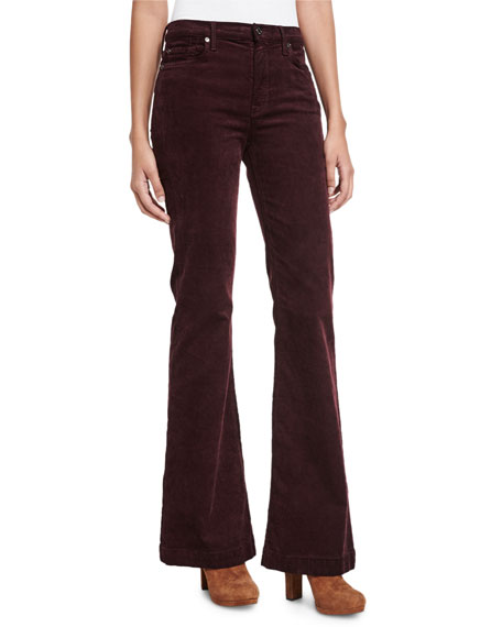 7 For All Mankind Ginger Flare-Leg Corduroy Pants, Wine