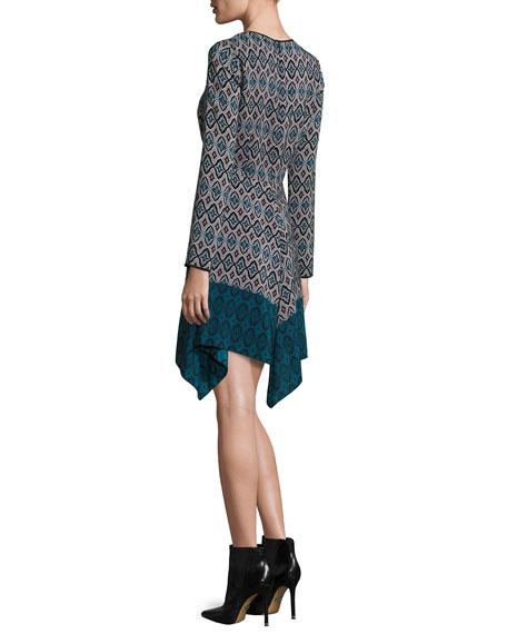 Long-Sleeve Printed Silk Handkerchief Dress, Teal