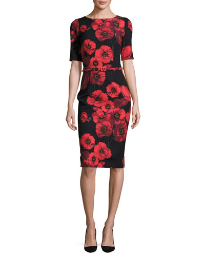 David Meister Short-Sleeve Belted Floral Sheath Dress, Red/Black