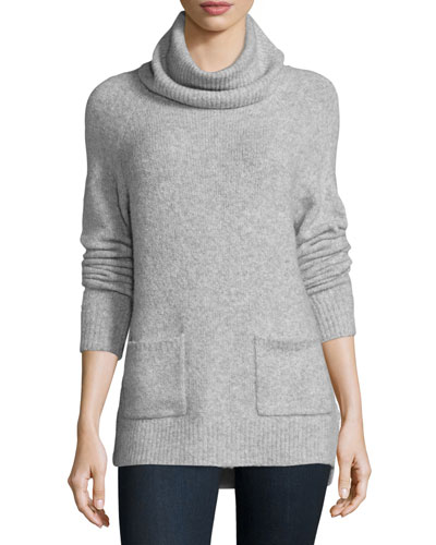Agnetha Oversized Turtleneck w/ Pockets, Heather Gray