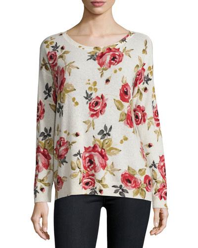 Eloisa Rose-Print Crewneck Cashmere Sweater, Chalk
