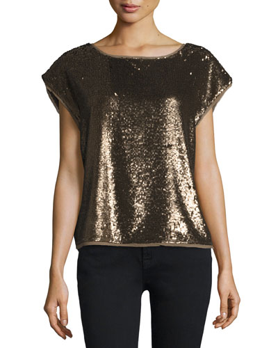Marania Sequin-Embellished Blouse, Antique Brass