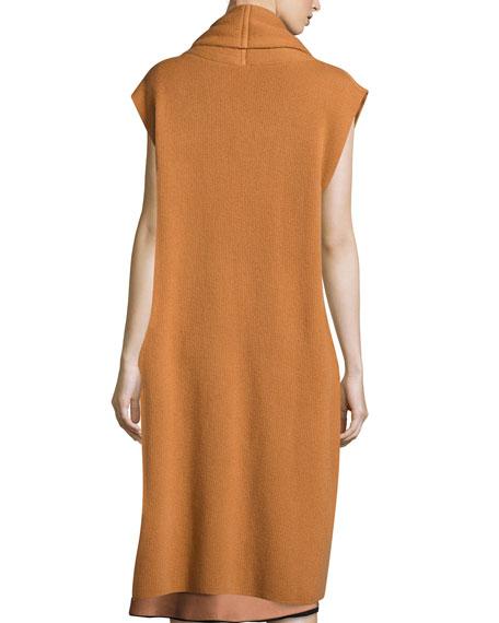 Long Cashmere Shawl-Collar Vest, Copper