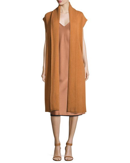 Long Cashmere Shawl-Collar Vest, Copper