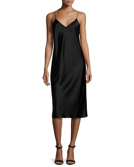 Sleeveless Reversible Satin Slip Dress, Copper/Black