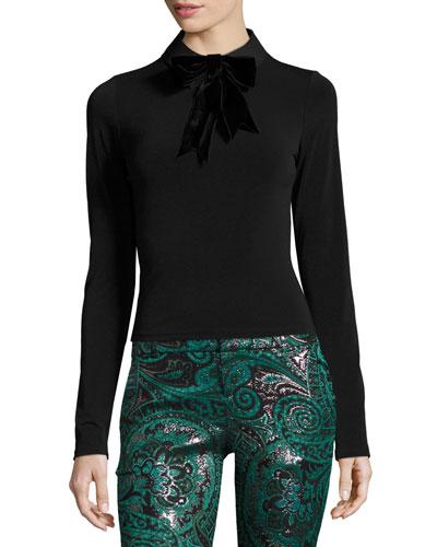 Cami Bow-Neck Long-Sleeve Top, Black