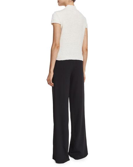 Carla Embellished Lace-Yoke Cap-Sleeve Sweater, Cream