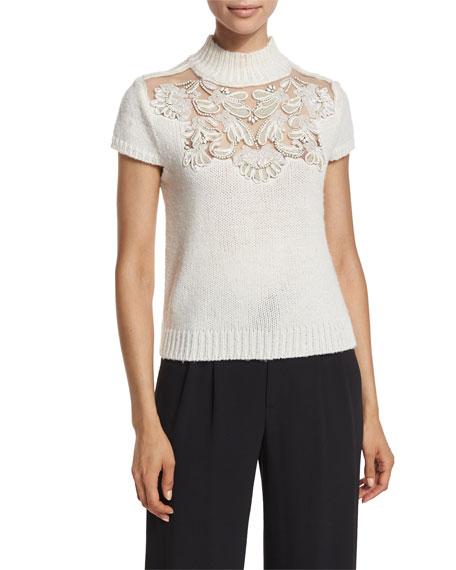 Alice + Olivia Carla Embellished Lace-Yoke Cap-Sleeve Sweater,
