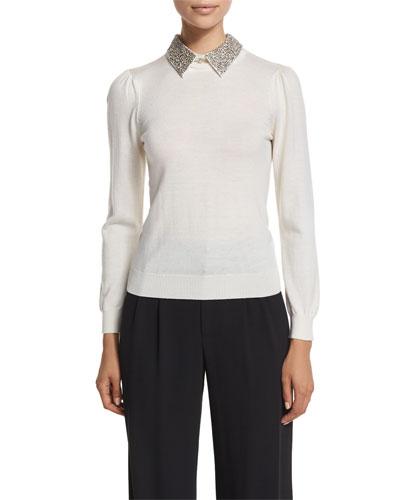 Era Embellished-Collar Puff-Sleeve Sweater, Cream